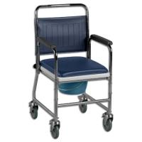 Chrome Plated Wheeled Commode