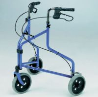 Roma Lightweight Tri-Wheel Walker With Loop Brakes