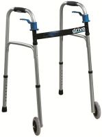Deluxe Trigger Release Folding Walker With Wheels