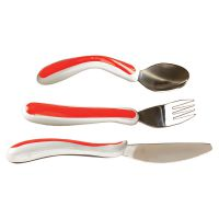 Kura Care Red & White Cutlery Set