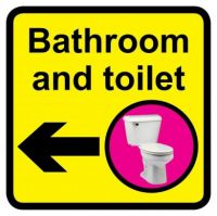 Square Bathroom And Toilet Sign