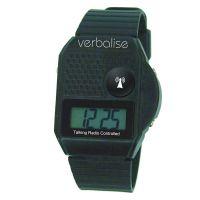 Verbalise Top Button Digital Radio Controlled Talking Watch Black 5 Alarm