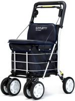 Carlett Lett800 Deluxe Walk & Rest Folding 6 Wheel Swivel Shopping Trolley With Seat Backrest