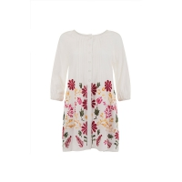 Flora Embroidered Tunic Top With Velcro Buttons