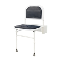 Padded Shower Seat with Backrest in Stainless Steel