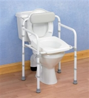 Toilet frame with contoured  or cutaway seat