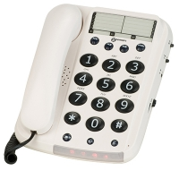Telephones with outgoing voice amplification