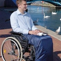 Outerwear for wheelchair and scooter users - leg covers and sitting bags