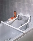 Wall-mounted rails that fit across bath