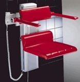Hinged shower seats for heavy duty and bariatric use