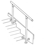 Vertical supports for fixing stair rails
