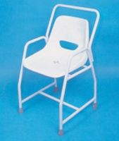 Static shower chairs with back and armrests for heavy duty and bariatric use category