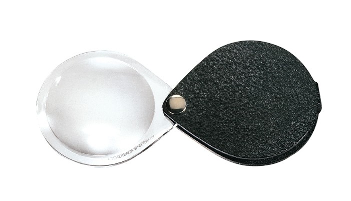 Folding Round Hand Magnifier With Leather Case
