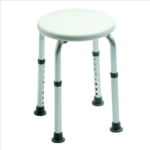 Adjustable Height Shower Stool With Circular Seat 1