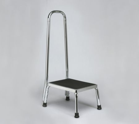 Chrome Plated Steel Framed Footstool With Handrail 1