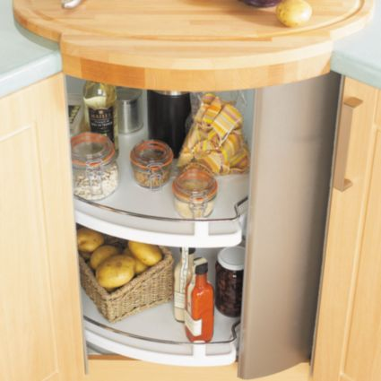 Circular Revolving Corner Unit With Built In Carousel And Stainless Steel Door