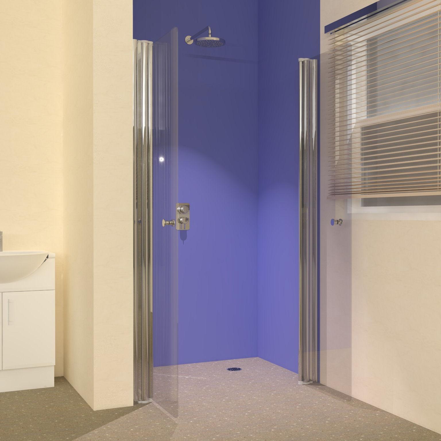 Frameless shower doors for wet rooms from unishower for Wet room shower screen 400mm