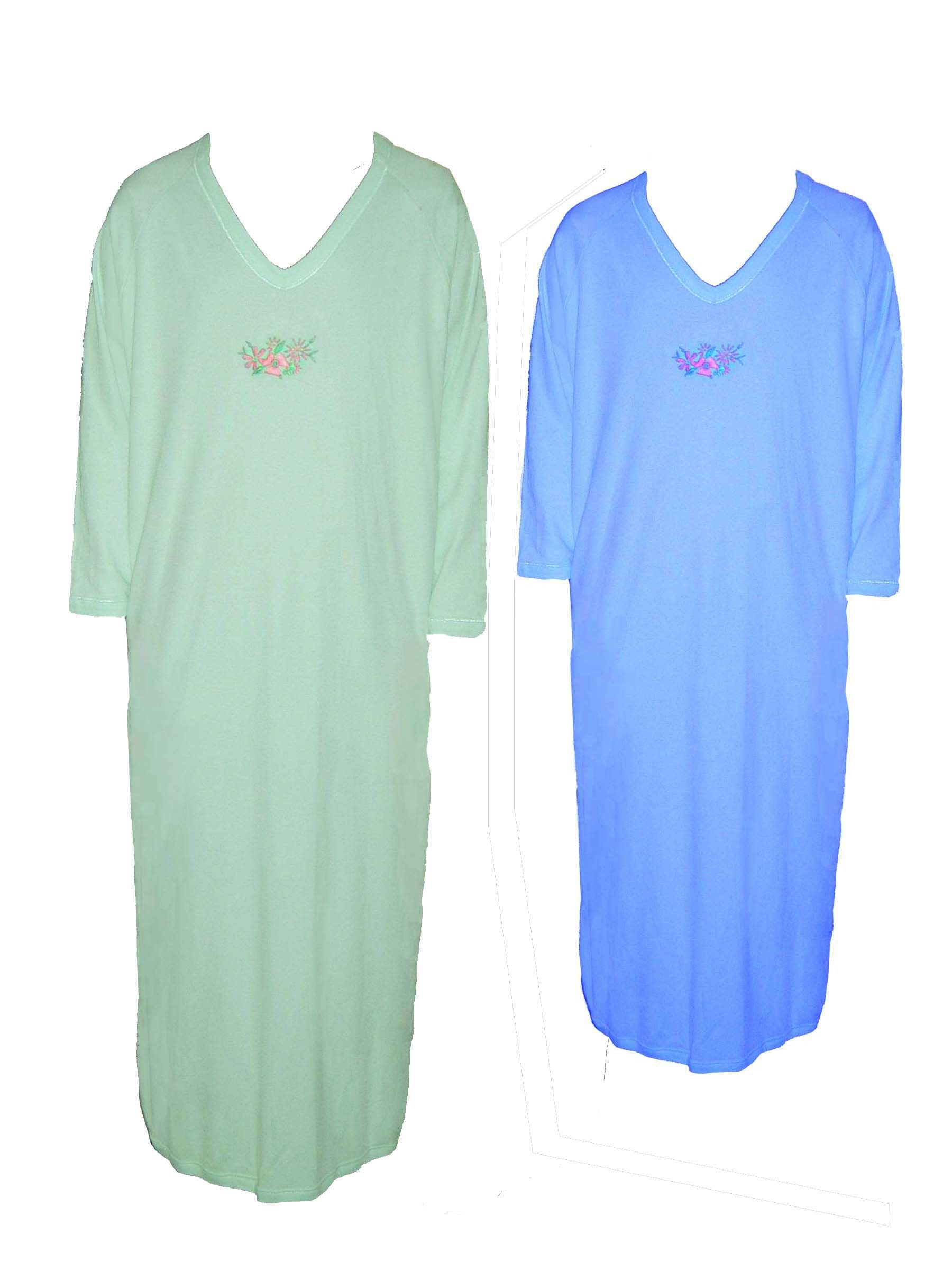 Ladies Cotton Interlock Embroidered Night Gown Living
