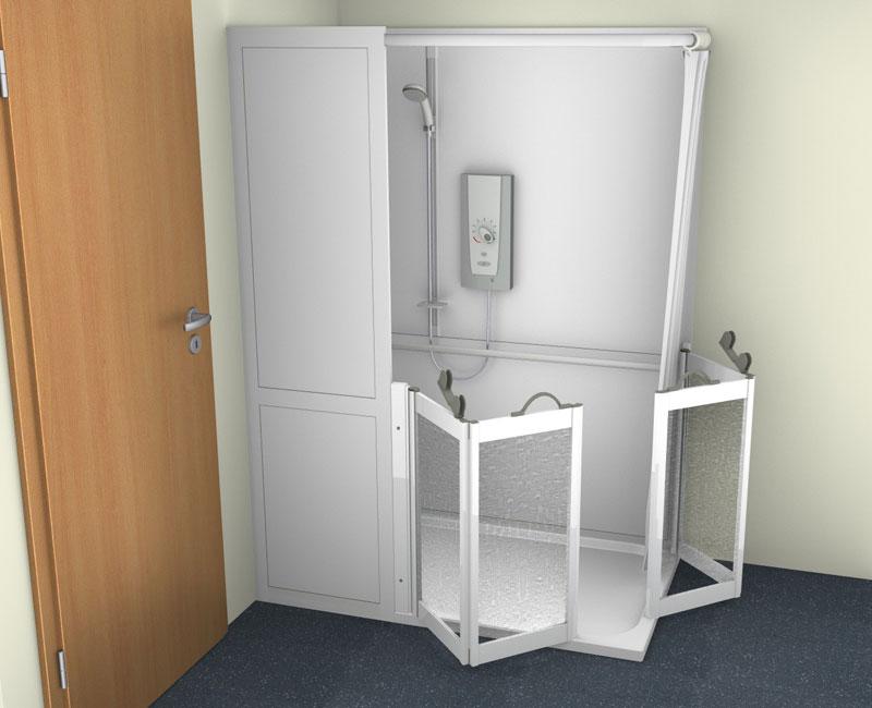 Contour Stepped Access Corner Shower Cubicle 1