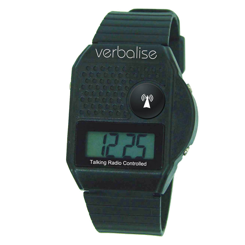 Verbalise Top Button Digital Radio Controlled Talking Watch Black 5 Alarm
