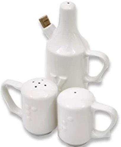 Dignity One Handled Salt Pepper & Vinegar Shaker Set 1