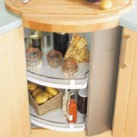 Image of Circular Revolving Corner Unit With Built In Carousel And Stainless Steel Door