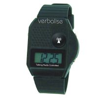 Image of Verbalise Top Button Digital Radio Controlled Talking Watch Black 5 Alarm